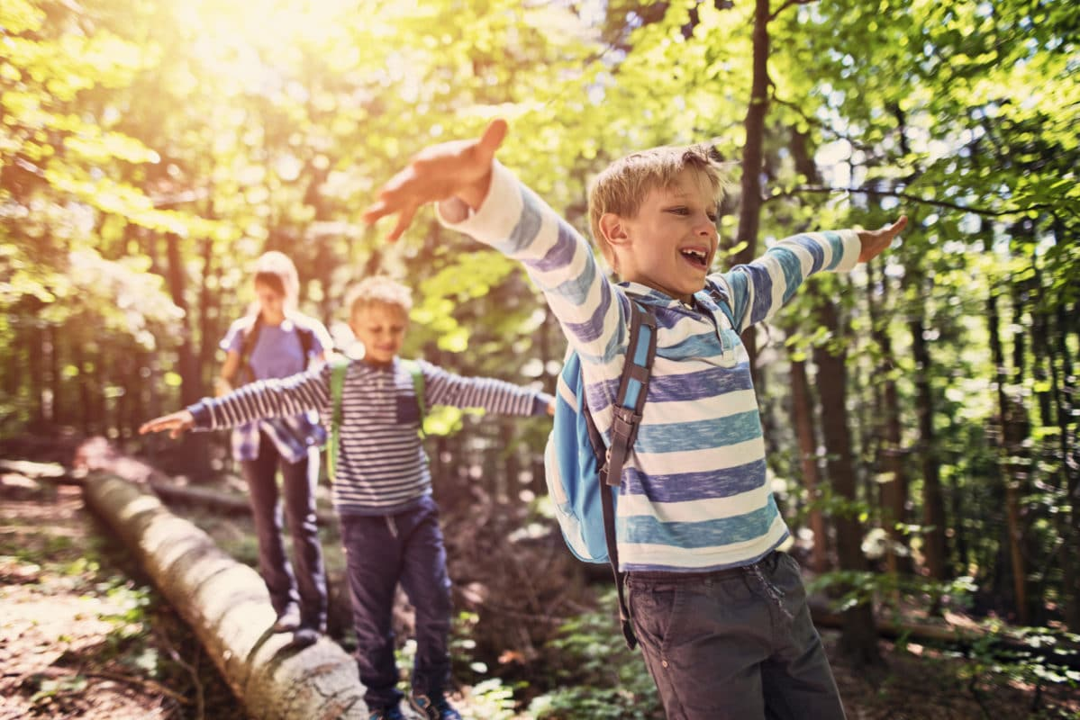 Empowering Kids at Summer Camp - Happy Kids Hiking in a Forest