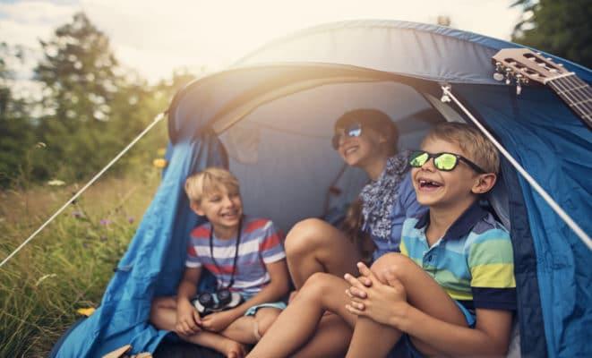 Kids Camping and Having Fun at Summer Camp