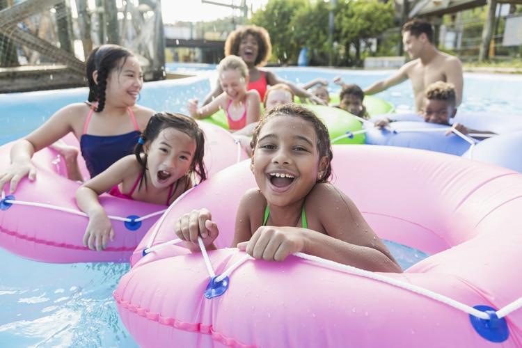 Multi-Ethnic Children, Fun at Kids Camp Pool