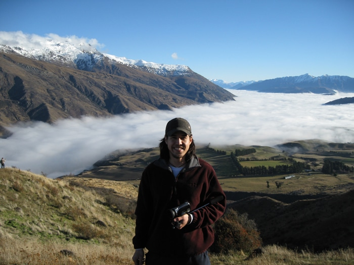 Sam in Wanaka with beautiful mountains in background